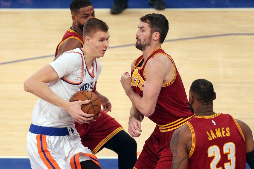 the best attitude b74ae fbd3c Dec 7, 2016  New York, NY, USA  New York Knicks power forward Kristaps  Porzingis (6) drives against Cleveland Cavaliers power forward Kevin Love  (0) and ...